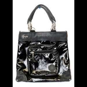 Fergie for Kipling Black Vinyl Tote/Attached Purse